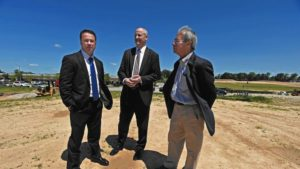 Richard Williamson, from left, Thomas Pilon, both of St. John Properties, and Michael Caruthers, president of Somerset Construction Company, the master developer of the entire Baltimore Crossroads area, are pictured at the 200+ acre integrated mixed use project, the Greenleigh at Crossroads in Baltimore County. (Kenneth K. Lam / Baltimore Sun)