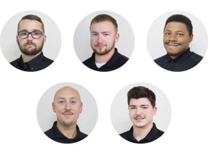 Pictured top row (left to right): John Deal, Patrick Huth and Monte Jackson. Pictured bottom row (left to right): Donovan Moineau and Zachary Moucheron.