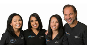 Members of the Chesapeake Pediatric Dental Group, pictured from left to right: Dr. Sylvia Yen, Dr. Luz Tennassee, Dr. Jennifer Mai, and Dr. Hakan Koymen.