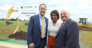 Matt Holbrook, Regional Partner, Virginia and Central Maryland Region for St. John Properties; Phyllis J. Randall, Chair At-Large of the Loudoun County Office of the Board of Directors; and Buddy Rizer, Executive Director of the Loudoun County Department of Economic Development